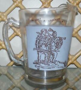 Davy Crockett Glass Pitcher with 3 Scenes On Horse, Fighting Bear, With Indian