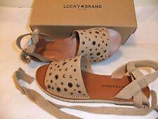 LUCKY BRAND Daytah2 Tan Beige Leather Sandal Ankle Tie Comfort Size 8 NIB $90