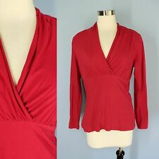CABI Red Stretch Knit Cotton Shawl Collar Cross-Over Bust Long Sleeve Shirt L