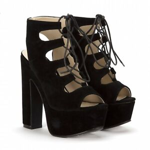 Koi Couture Ladies Black Suede Block Heels With Laces Brand New In Box