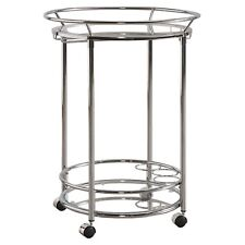 Rolling Home Bar Cart Silver Chrome Finish Metal Glass Modern Glam Serving Cart