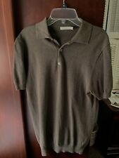 Suitsupply Silk Cotton Sweater Polo Shirt Mens Small Slim Fit Drab Green