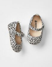 GAP Baby Girl Size 3-6 Months NWT Leopard Mary Jane Canvas Flats Shoes