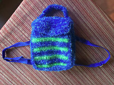 Fuzzy Purse Modern Bright Blue Bag Textured Neon Stripe Backpack Art Bag China