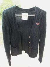 Hollister Womens Junior Cable Button Cardigan Sweater!  SMALL!  NAVY BLUE!