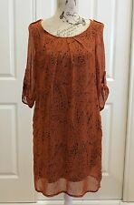LUSHOUS Retro Style, Burnt Orange Print Dress Size 8