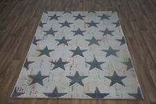 Quality Modern Cream / Grey Stars Rug 120cm x 170cm 8mm Thick Rug! Retro