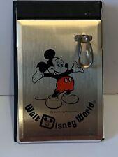 Vintage Walt Disney World Metal Paper Notepad Pen Holder Mickey Mouse Unused