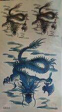 Large Angry Blue Chinese Dragon Mens Boys Temporary Tattoo UK Seller Free P&P