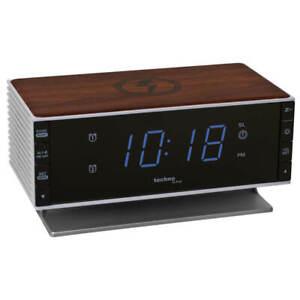 Wecker mit Quarzuhrwerk FM Radio Ladefunktion induktiv und USB TechnoTrade WT487