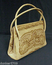 VINTAGE LEATHER PURSE LIGHT TAN TOOLED LEATHER HAND BAG MADE IN MEXICO 1960'S