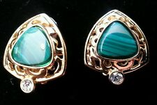 CAMROSE & KROSS JBK KENNEDY GOLD GREEN MALACHITE CLIP-ON EARRINGS