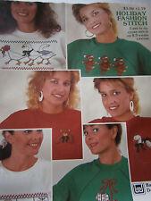 Vintage 1987 Holiday Fashion Stitch Waste Canvas Cross Stitch Pattern Book Duck