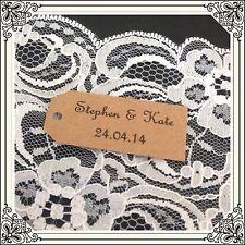 50 Medium Kraft brown Printed Personalised Wedding Party Bomboniere Swing tags