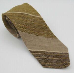 Vtg Madawaska Weavers 100% Wool Brown Tan Diagonal Stripe Tweed Tie