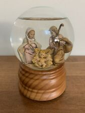 FONTANINI Glitterdome Nativity HOLY FAMILY Musical Snow Globe O Holy Night 1989