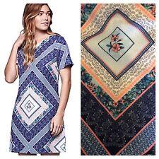 Yumi @ Kaleidoscope Sz 10 Blue Multi Chevron Floral Print Tunic DRESS Summer £60