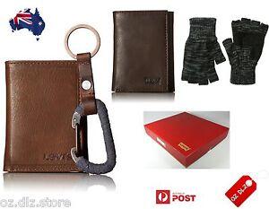 NEW Authentic Levi's Men Wallet Gift Set Box Key Fob Gloves A