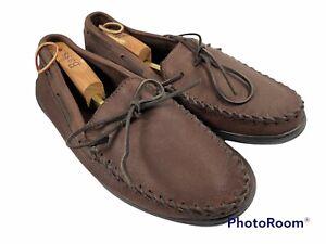 🔥 Minnetonka • Men's Moosehide Classic Moccasin Boat Shoe Chocolate Size 13