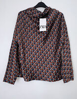 ZARA SS20 MAROON GEOMETRIC PRINTED HIGH  NECK SHIRT BLOUSE SIZE S BNWT