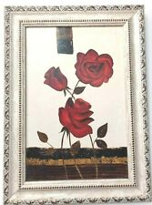 ART PAINTING FRAME FLOWERS HANDMADE ANTIQUES MADE FROM WOOD HANGING WALL ART