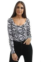 Womens Long Sleeve Basic Zebra Ladies Stretch Leotard  Bodysuit Scoop Neck Top