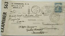 MEXICO 1941 COVER CENSORED IN ENGLAND WITH HARTLAND BIDEFORD & DUNSTER ARRIVALS