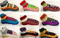 Hand knitted Indoor Socks Slippers Shoes Wool Woollen Fleece Lined Multicolour