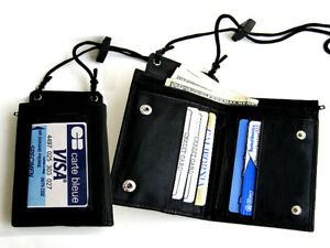 BLACK GENUINE LEATHER WALLET ID Badge Window Pocket Card Holder Zip Neck Strap