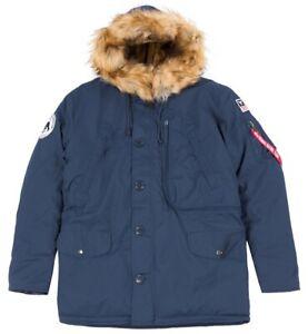 Alpha Industries Polar Jacke Herren Navy Winterjacke mit Kapuze L