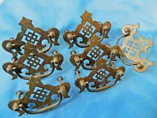 7 ANTIQUE /VINTAGE  victorian drawer cabinet desk pull handles  brass