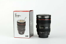 Camera Lens Mug Tea Coffee Cup Stainless Steel Thermos & Screw On Lid - 230ml