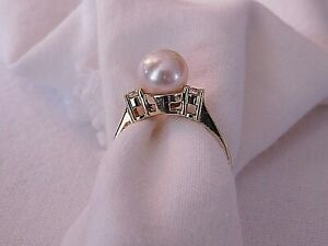 8MM AAA GENUINE POTATOE SOUTH SEA PEARL & DIAMOND SOLID 14K Y.GOLD RING Sz 8