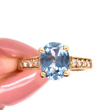 Ring in 14k Yellow Gold Blue Zircon and Diamond Right-Hand