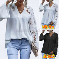 Women Elegant Blouse Shirts Long Sleeve Tunic Top Party Cocktail Floral Lace Tee