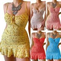 Women's Floral Sleeveelss Mini Dress Summer Beach Ruffle Club Sundress Plus Size