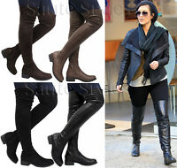 Ladies Women Over The Knee Stretch Boots Thigh High Low Block Heel Shoes Size UK