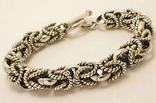 "Mexican 925 Sterling Silver Byzantine/Borobudur/Bali Chain Bracelet 7.7"" 98g"