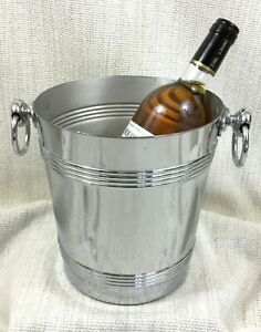 Vintage Champagne Bucket French Chrome Plated Art Deco Mid Century Modern