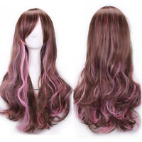 Women Lady Long Hair Wig Curly Wavy Synthetic Anime Cosplay Party Full Wigs