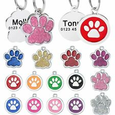 Paw Print Personalised Dog Tags Custom Engraved Pet Kitten Cat Name ID Tag Puppy