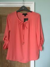 Coral Pink Top BNWT Size 8 Rolled Up / Turn Up 3/4 Length Sleeves