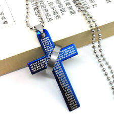 Stainless Steel Cross Lord's Prayer and Halo Ring Pendant Statement Necklace