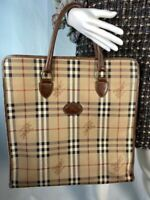 Burberrys Large Brown Leather Logo Classic Plaid Print Shopping Tote Bag Purse