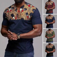 UK Fashion Mens African Ethnic T-shirt Short Sleeve V-Neck Tops Kaftan Tee Shirt