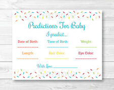 Baby Sprinkle Rainbow Blue Baby Shower Baby Predictions Game Cards Printable