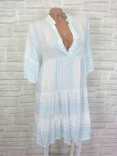 Hippie Blogger Hängerchen Kleid Tunika Volant Print 36 38 40 42 Weiß Blau K143
