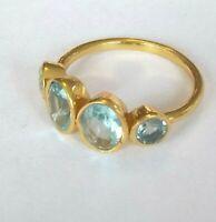 Blautopaz Quartz Ring, 925 Silber vergoldet