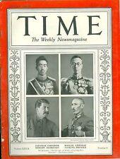 MAGAZINE TIME   Hirohito, Pu Yi, Stalin & Chiang  February  24 1936