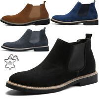 MENS LEATHER CHELSEA BOOTS ANKLE SMART WORK FORMAL CASUAL SLIP ON SHOES SIZE5-10